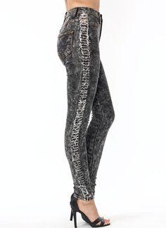 Shredded Stripe Acid Wash Jeans