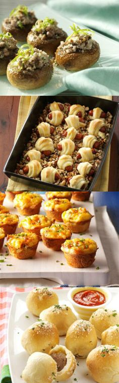 25 Potluck Appetizers to Feed a Crowd from Taste of Home including: Buffalo Chicken Dip, Chocolate Chip Cheese Ball, Beer Dip, Warm Bacon Cheese Spread, Tangy Barbecue Wings and more!