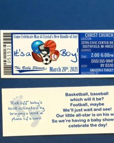 These It's A Boy! All Star Baby Shower Ticket Invitations are a super fun way to invite your guests to your Sports Themed baby shower or sprinkle! Ticket Invitation, Invite, Football Baby, Baseball, Basketball Wedding, Star Baby Showers, Having A Baby, Baby Shower Themes