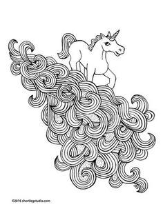 Unicorn Rainbow Waterfall Coloring Sheet Thumbnail