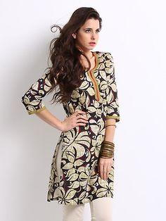 New Traditional Indian Desgner Hand Print Top Tunic Kurti