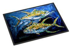 Fish - Tuna Tuna Blue Indoor or Outdoor Mat 18x27 Doormat