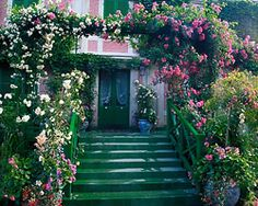 Front entry to Monet's house in Giverny France.