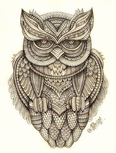 Hand drawn and digital illustration of graphic OWL Owl Illustration, Illustrations, Colouring Pages, Adult Coloring Pages, Owl Tattoo Drawings, Owl Pictures, Tangle Art, Desenho Tattoo, Zentangle Patterns