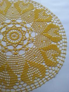 Gorgeous Yellow Big Doily Crochet Doily by EnjoyableCraft on Etsy, $10.00