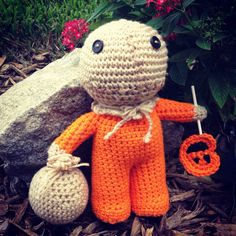 This is a made to order crochet Sam doll from the movie Trick r Treat! About 11 tall, accompanied with his famous lollipop weapon and a trick or