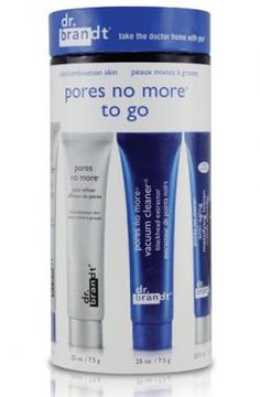 dr. brandt pores no more to go kit: allows you to have flawless skin no matter where you go. Kit includes cleanser, anti-aging mattifying lotion, pore refiner, pore thing Evermat, and pore cleaner. $39