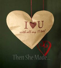 "Then she made...: ""Brown Paper Hearts Hanging From String..."""