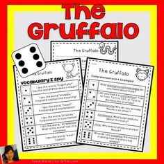 The Gruffalo Book Companion will help teach plot with comprehension questions, games, vocabulary, grammar, fluency, phonics, comprehension strategies, sequencing, writing, and a comprehension test.