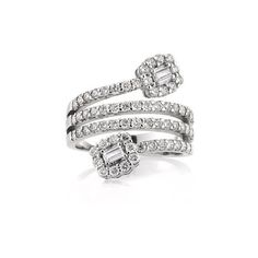 Mark Broumand 1.50ct Baguette Cut and Round Brilliant Cut Diamond... ($2,495) ❤ liked on Polyvore featuring jewelry, rings, accessories, white, diamond rings, baguette jewelry, white ring, wrap around ring and white jewelry