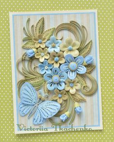 Lush Summer quilled card with blue stylized flowers - Birthday quilling card - Quilled greeting card - QuillyVicky