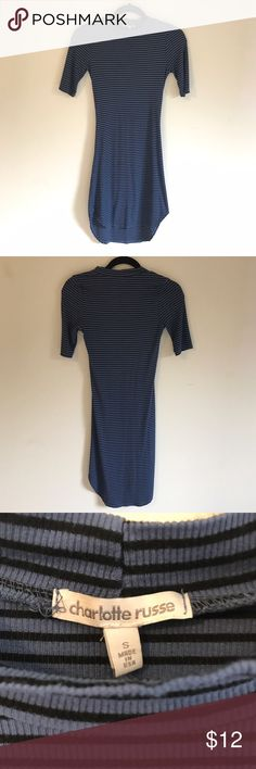 """Mock Neck Striped Bodycon Dress Black and blue dress from Charlotte Russe. Very stretchy and cute. Length is 35"""" in the front and 38"""" in the back. Worn a couple times and in good condition Charlotte Russe Dresses Midi"""