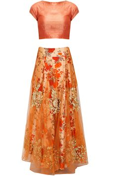 Orange and floral print rose embroidered lehenga set available only at Pernia's Pop-Up Shop.