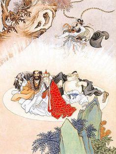 孙悟空三打白骨精 Chinese Painting, Chinese Art, Japanese Prints, Japanese Art, The Legend Of Monkey, Chinese Picture, Journey To The West, Buddha Painting, Chinese Landscape