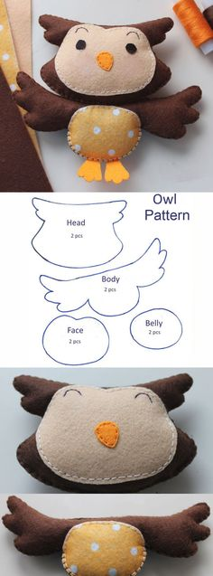 How to sew an owl out of felt. DIY Tutorial  http://www.handmadiya.com/2017/04/sew-sweet-owl-of-felt.html