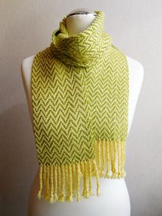 30% OFF Handwoven scarf woven scarf yellow green by Delekselja