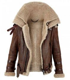 Burberry Prorsum Shearling Funnel Neck Aviator Jacket