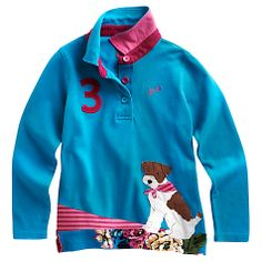 Buy little joule maisie long sleeve polo top blue online at johnlewis