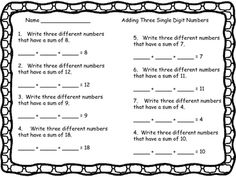 Adding Three Single Digit Numbers 2 pages sums to 20 good for practice and as an…