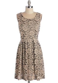 Admirable Octaves Dress - Mid-length, Knit, Lace, Tan, Solid, Lace, Wedding, Party, Bridesmaid, A-line, Sleeveless, Scoop