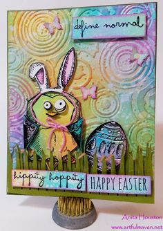 Card by Anita Houston (032016) [(dies) Sizzix Tim Holtz Bird Crazy (e/f) Sizzix Tim Holtz Rays and Retro Circles Texture Fades; (punches) Sizzix Tim Holtz Butterfly-Small; (stamps) Stampers Anonymous Tim Hotlz Bird Crazy, Crazy Talk, Crazy Things, Mini Blueprints 2]