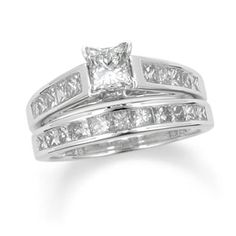 2 CT. T.W. Princess Cut Diamond Bridal Set with Diamond Accents in 14K White Gold