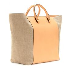 Victoria Beckham  LINEN AND LEATHER SHOPPER