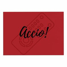 KESS InHouse Jackie Rose 'Accio! Remote' Red Illustration Dog Place Mat, 13' x 18' * Discover this special product, click the image (This is an amazon affiliate link. I may earn commission from it)
