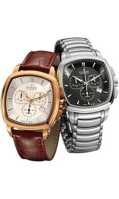 M's Chronograph Watch DAYTONA, Ronda cal. 5030.D quartz mvt., 13 jewels, white dial, rose gold PVD plated stainless steel case/stainless steel back, sapphire crystal, 5 ATM, brown leather strap (with double pusher butterfly buckle). Case: 42,0 mm. Weight: 94gr. HS Code: 9102.1100.125 Casio Watch, Stainless Steel Case, Chronograph, Omega Watch, Quartz, Jewels, Watches, Switzerland, Brown Leather