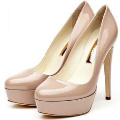 Rupert Sanderson Harper High Heel Platform Pumps in Nude Patent with a 130mm heel