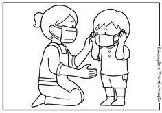 Set of Hand Washing and germs coloring pages in 2020
