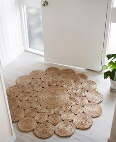 Handmade home decor - Camellia Hemp Round Rug Jute Crafts, Diy Home Crafts, Handmade Home Decor, Handmade Rugs, Rope Rug, Diy Kit, Round Rugs, Handmade Flowers, Diy Furniture