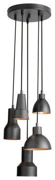 5 Light Round Pendant, Black/Gold Finish - traditional - Pendant Lighting - Eager House