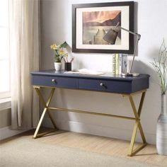 Linon Campaign Blue Desk with Gold Matte Legs Image 1 of 4 Bureau Design, Office Furniture, Office Desk, Gold Office, Office Inspo, Office Suite, Cheap Furniture, Campaign Desk, Gold Desk