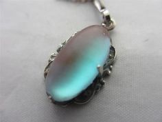 ANTIQUE c1910 EDWARDIAN CABOCHON SAPHIRET GLASS STERLING SILVER PENDANT NECKLACE