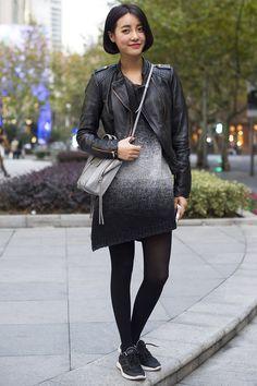 Xintiandi, SHANGHAI. Tina Gao, model. Dress from Taobao, Zara jacket and shoes, Balenciaga bag. Photo Dave Tacon