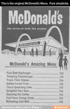 Original McDonald's menu / iFunny :) wow times have changed