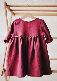 Beautiful Handmade Raspberry Linen Baby Toddler Dress | TinyStoriesClothes on Etsy