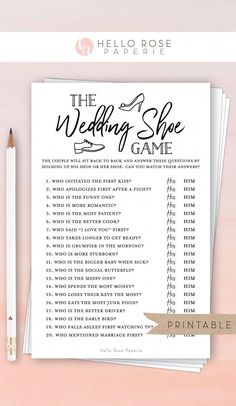 32 New Ideas Couples Bridal Shower Games Activities Receptions Shoe Game Wedding, Wedding Songs, Wedding Couples, Couples Wedding Shower Games, Wedding Games For Guests, Bride And Groom Wedding Games, Unique Wedding Reception Ideas, Wedding Reception Checklist, Bridal Shower Checklist
