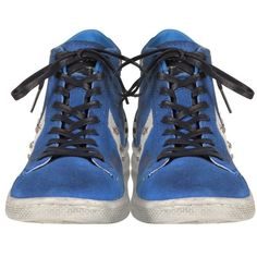 Converse Limited Edition Shoes Riviera Blu Suede Pro Leather Mid... (€115) ❤ liked on Polyvore featuring shoes, sneakers, distressed leather shoes, converse sneakers, blue leather sneakers, distressed shoes and blue sneakers