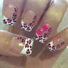 French Manicure with Pink cheetah print and bow accent