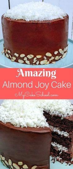Amazingly Moist and Decadent Scratch Almond Joy Cake Recipe by MyCakeSchool.com! SO good. #chocolate #coconut #almondjoycake #cake