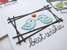 Card set by Emily Leiphart for Paper Smooches - Delightful Greetings, Birds dies, Fused Frame die