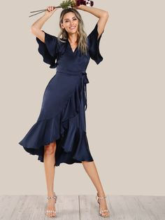 Elegant and Glamorous A Line Plain Fit and Flare Asymmetrical and Flounce V neck Short Sleeve Butterfly Sleeve Natural Navy Midi Length Ruffle Hem Satin Wrap Tie Dress with Belt Navy Satin Dress, Satin Dresses, Elegant Dresses, Pretty Dresses, Wrap Tie Dress, Mode Inspiration, Belle Photo, Plus Size Outfits, Flare
