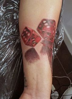 3d Mens Tattoo Of Red Rolling Dice With Shadowing