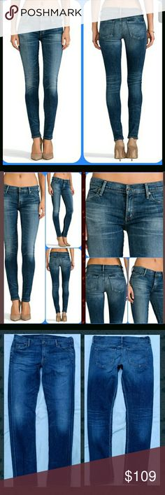 Citizens of Humanity Avedon Skinny Jean SUNDAY 32 ahhsome LUXE stretch denim skinnies by COH  avedon is style ..sunday is wash  SIZE is 32 exc mint worn a few times at most Like new  fading whiskering. wear patterns behind knees, abrasions .little knicks