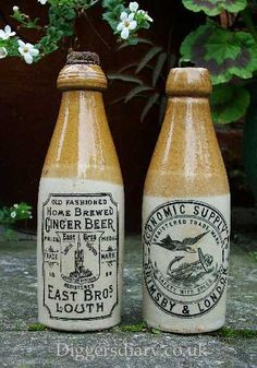 19th century English stoneware bottles.