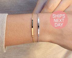 Personalized Bracelet for Women Gold Bar Bracelet Monogram Initial Bracelet Friendship Custom Bracelet Personalized Name Bracelet Bracelet Initial, Sister Bracelet, Name Bracelet, Bracelet Set, Bangle Bracelets, String Bracelets, Tribal Bracelets, Engraved Bracelet, Bangle Set