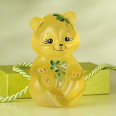 Fenton Buttercup Little Irish Bear Art Glass Figurine by Lenox