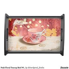 Pink Floral Teacup Bird White Yellow Flowers Service Trays